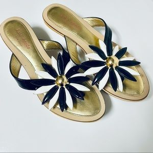 Kate Spade Leather/Wooden Kitten Heel Sandal